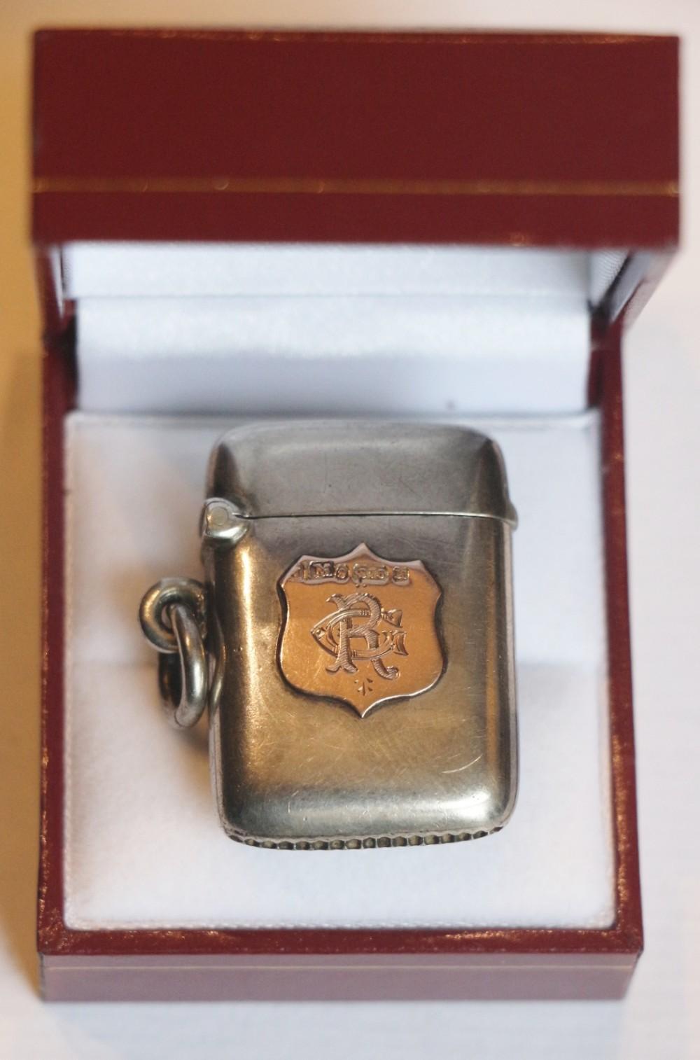 19th century silver gold vesta case
