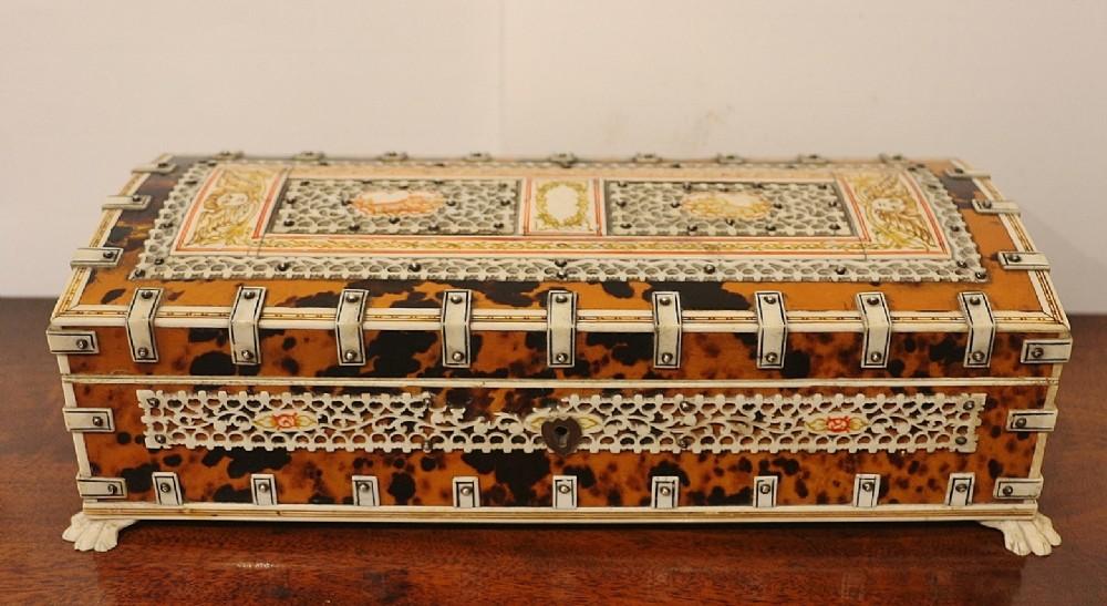 indoportuguese ivory tortoiseshell jewellery box