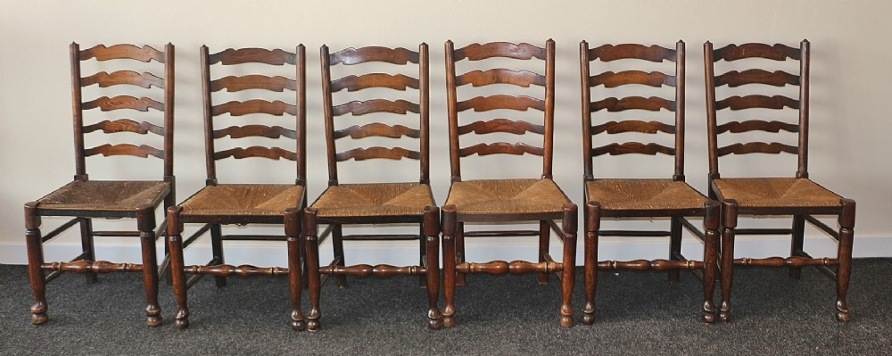 late 19th century set of 6 good quality elm ladderback chairs