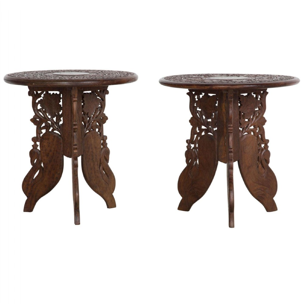 pair of early c20th carved indian low tables