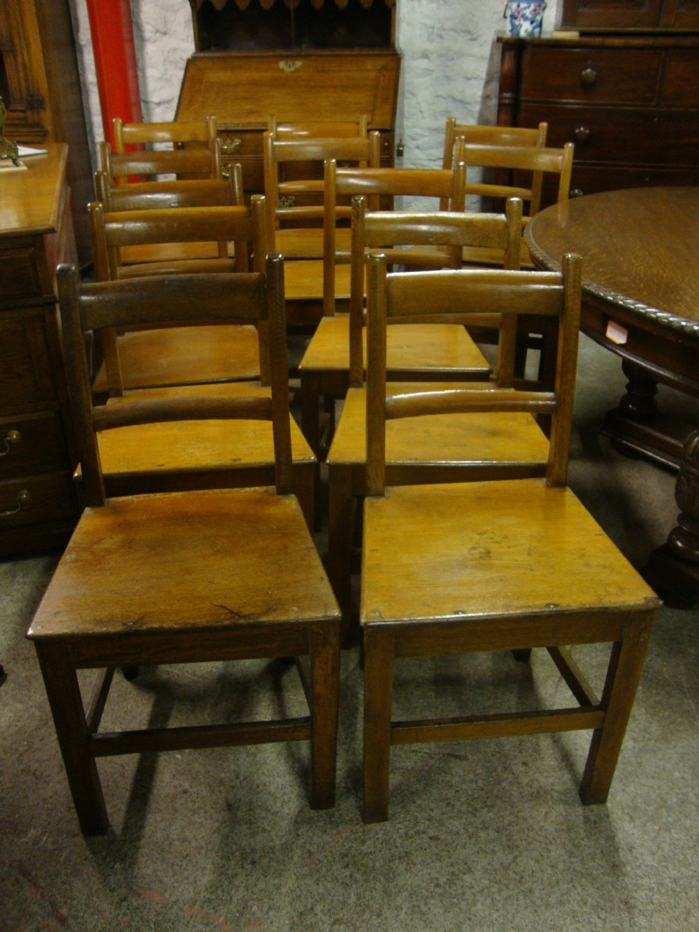 Set Of 12 Welsh Country Oak Chairs Signed John Lewis   241576 ...