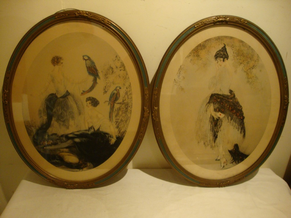 pair oval framed louis icart style art deco prints by j henricy
