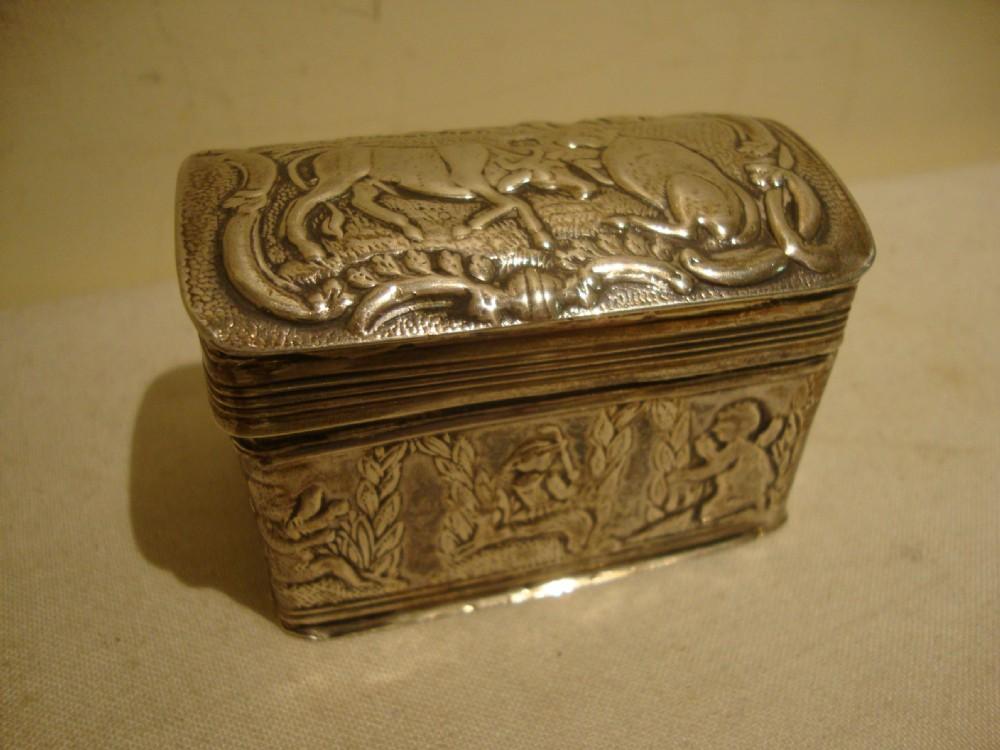 antique victorian sterling silver repousse dutch trinket snuff box