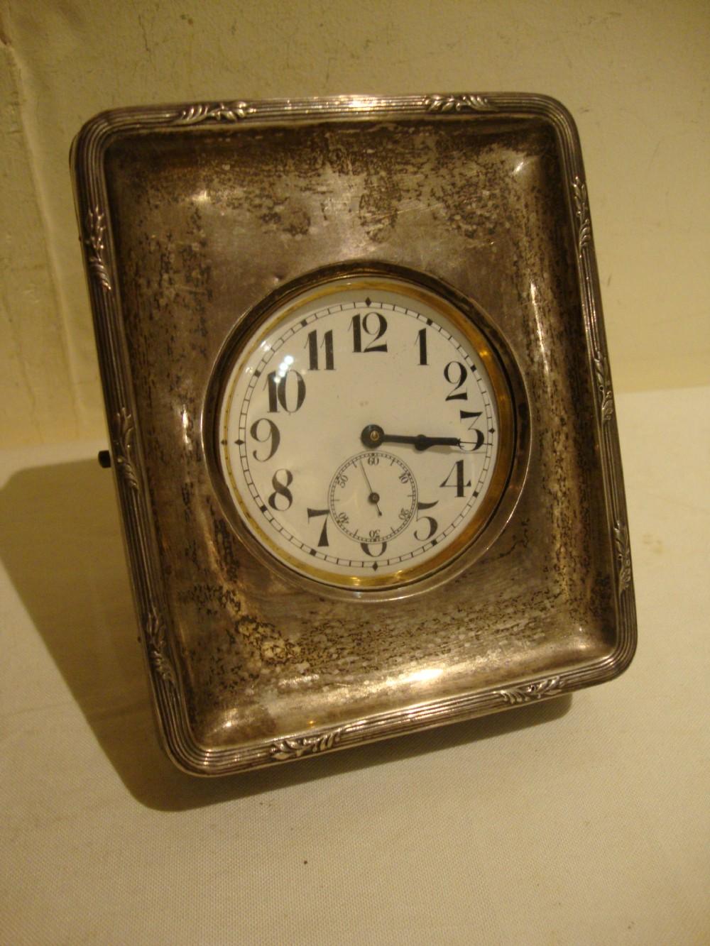 antique swiss bernorf alpaca oversize goliath pocket watch with english  hallmark sterling silver desk top case