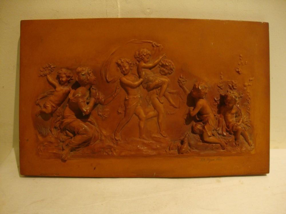 antique classic virgils aeneid aesthetic movement terracotta color plaque myers 1882