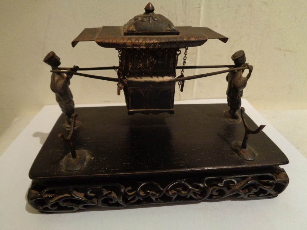 antique wang hing co desk top chinese 900 silver sedan chair pen ink tray