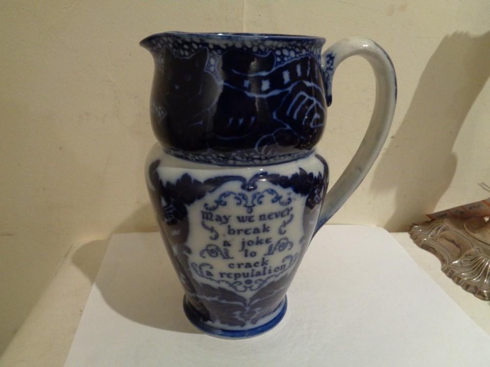 antique royal doulton flow blue cat jug