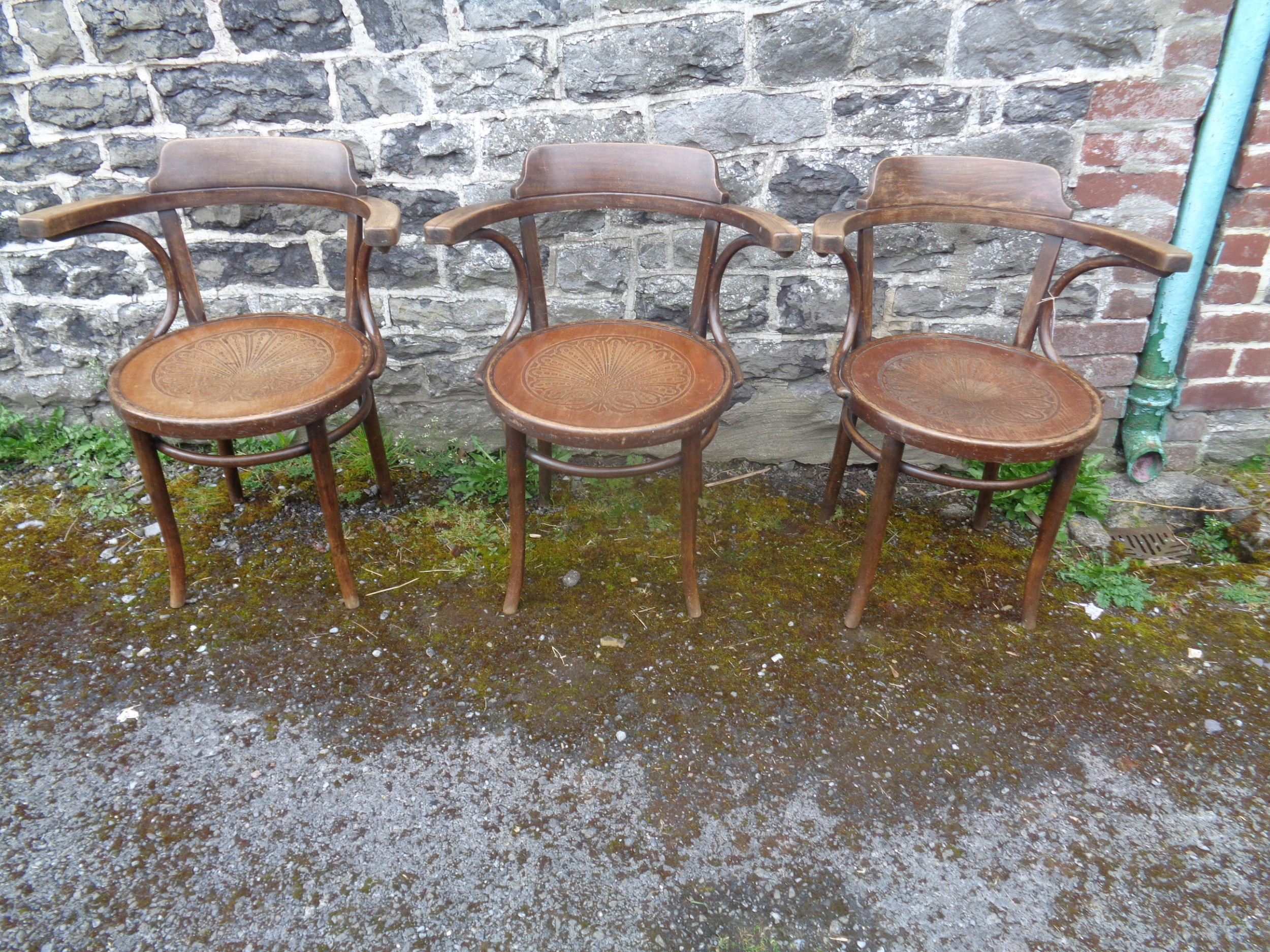 antique set of 3 thonet bentwood arm chairs