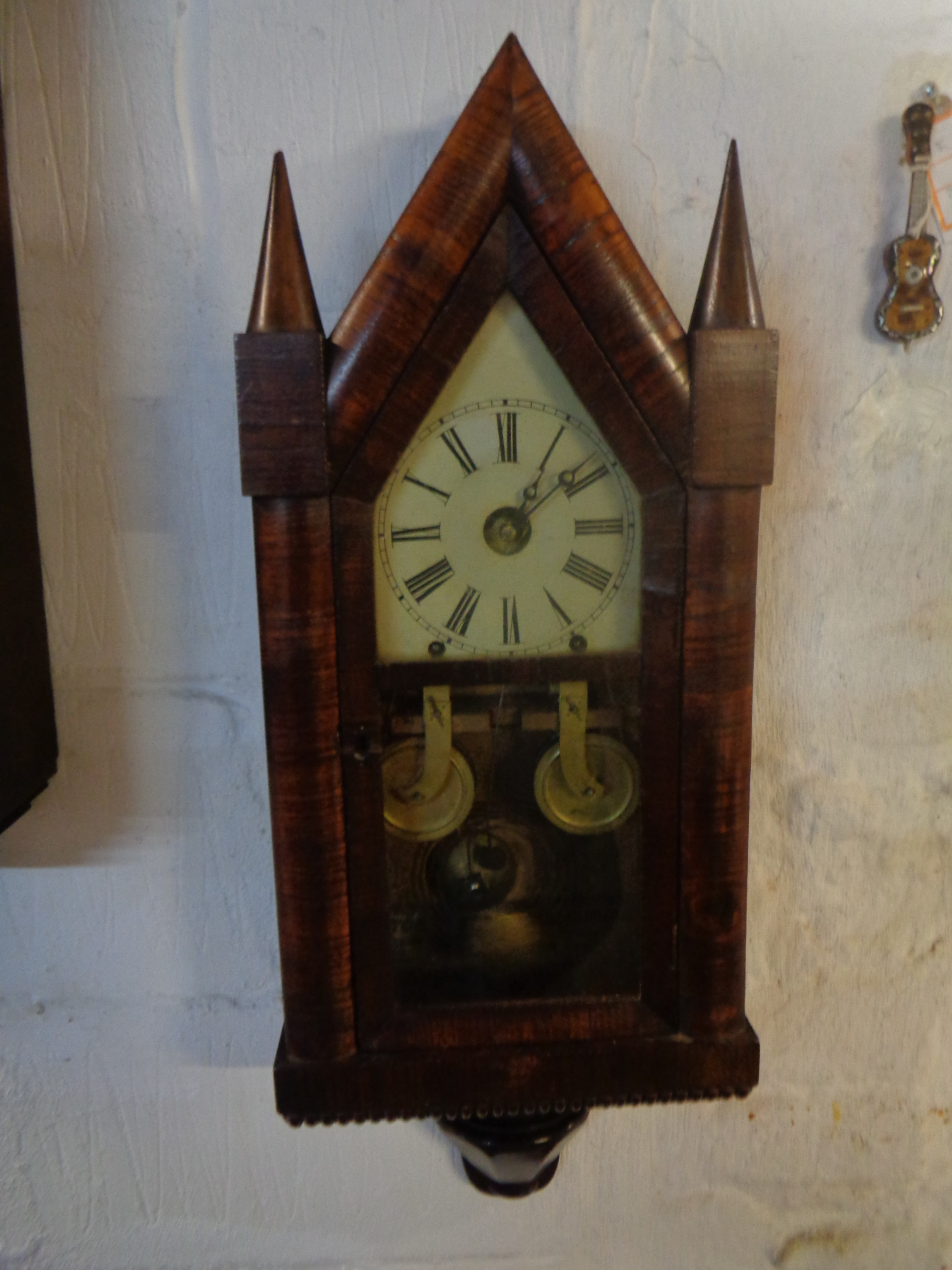 antique usa chauncey jerome double fusee shelf steeple wall clock