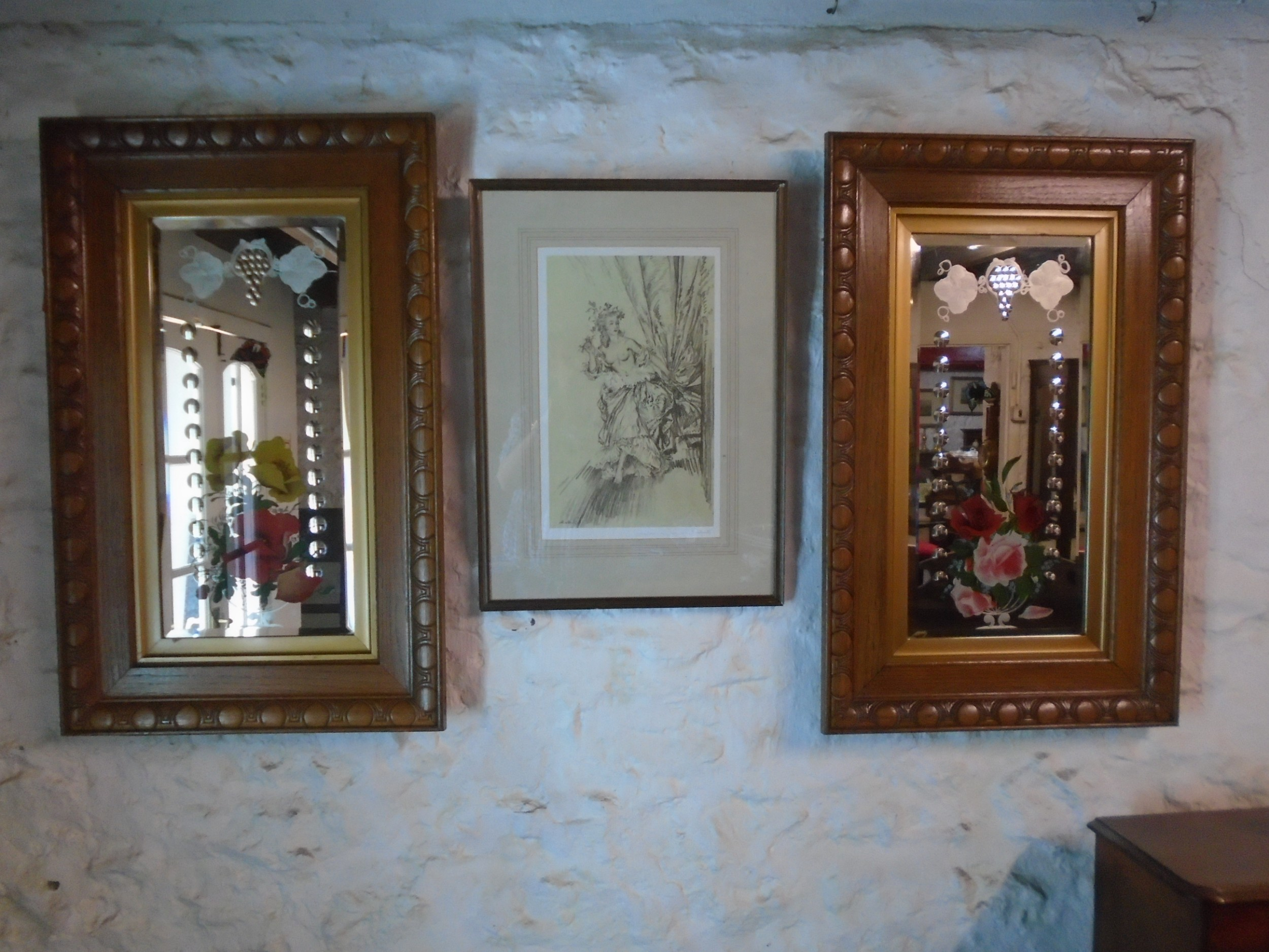 pair of edwardian gypsy mirrors