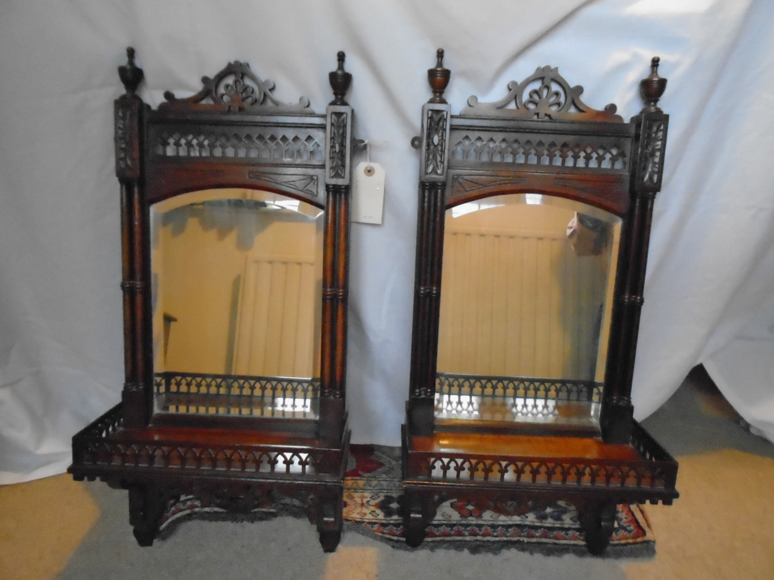 antique pair edwardian wall mirrors