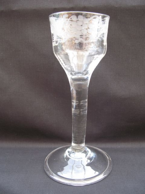 a georgian fluted base ogee bowl folded foot wine glass cica 1745
