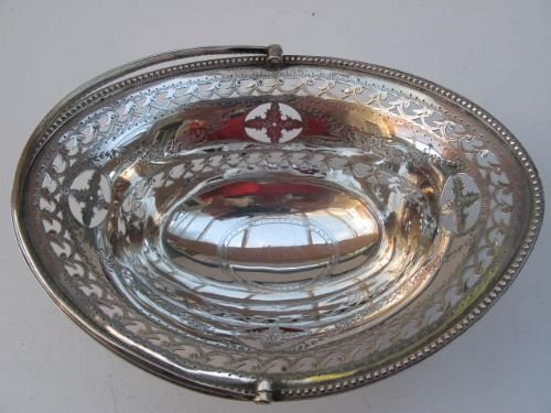 solid silver swinghandle basket - photo angle #2