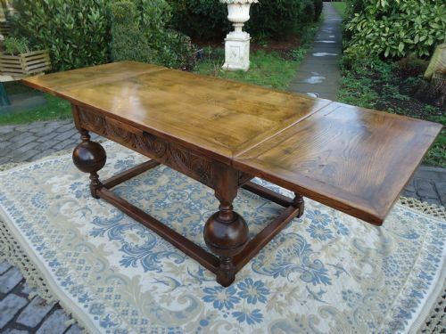 Elizabethan Style Victorian Oak Draw Leaf farmhouse Dining Table Seats 8 10