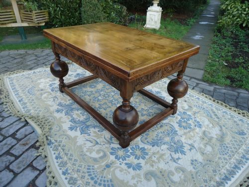 Elizabethan Style Victorian Oak Draw Leaf farmhouse Dining Table Seats 8 10