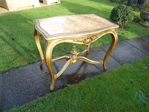 19th century gilt marble top centre table
