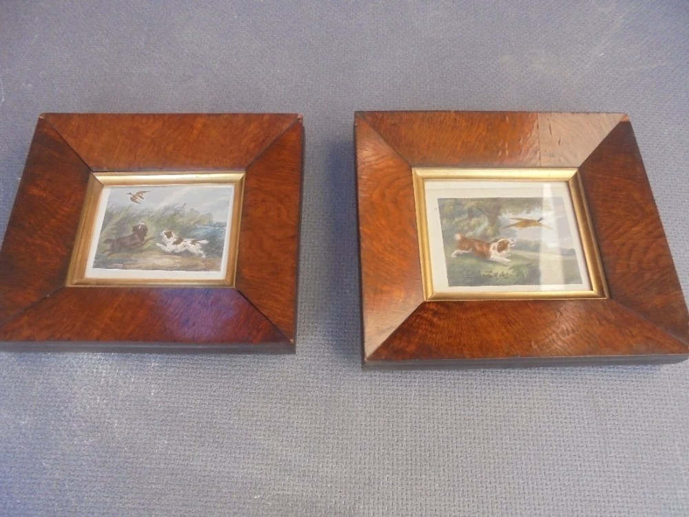 a close matching pair of early 19th century pollard oak framed shooting prints
