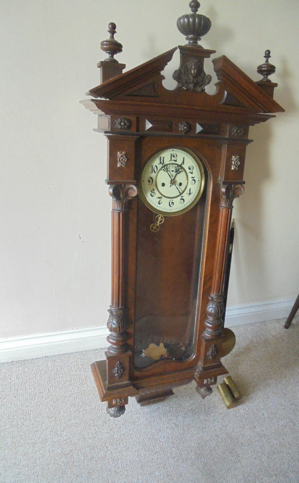 19th century walnut vienna regulator wall clock