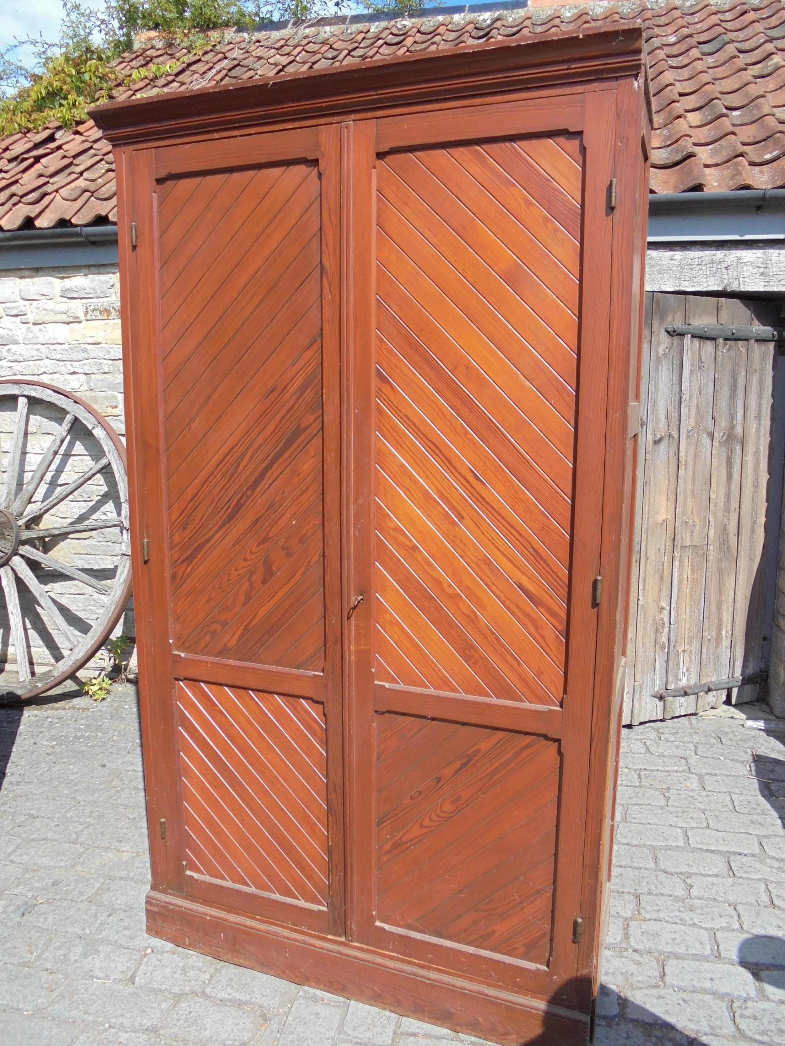 large french 19th century pitch pine storage cupboard