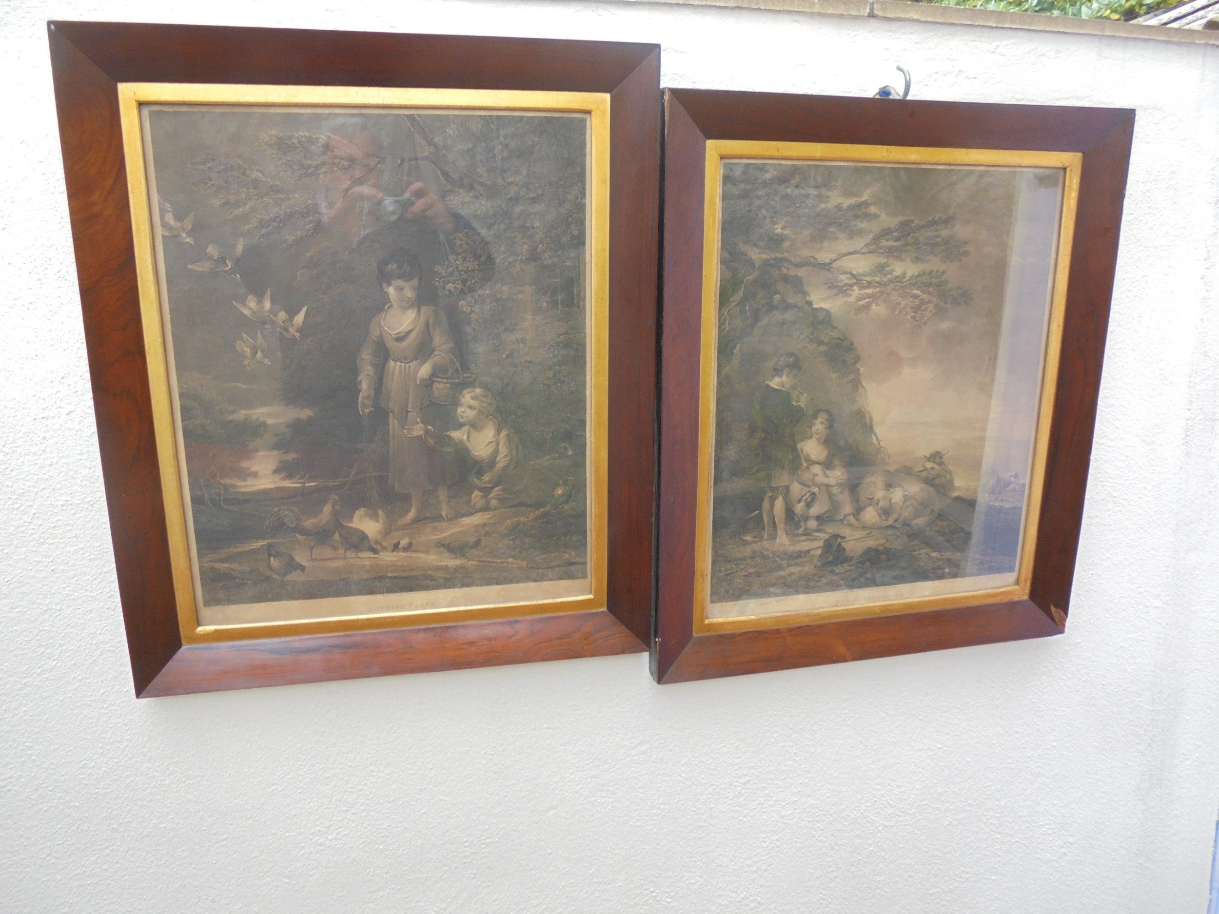 pair of victorian prints in rosewood frames
