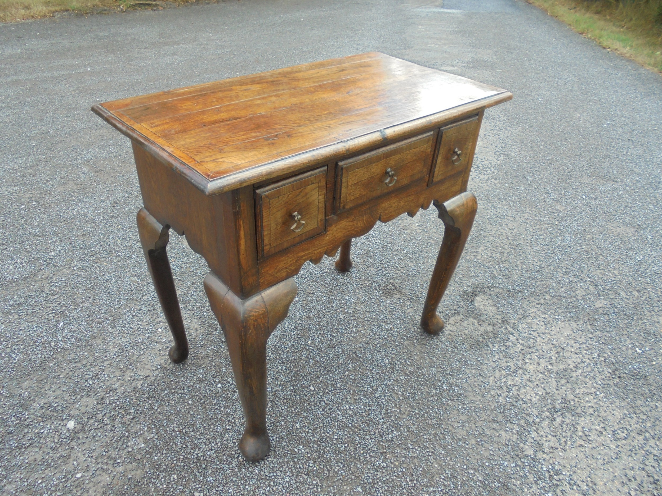 19th century oak and ash lowboy side table