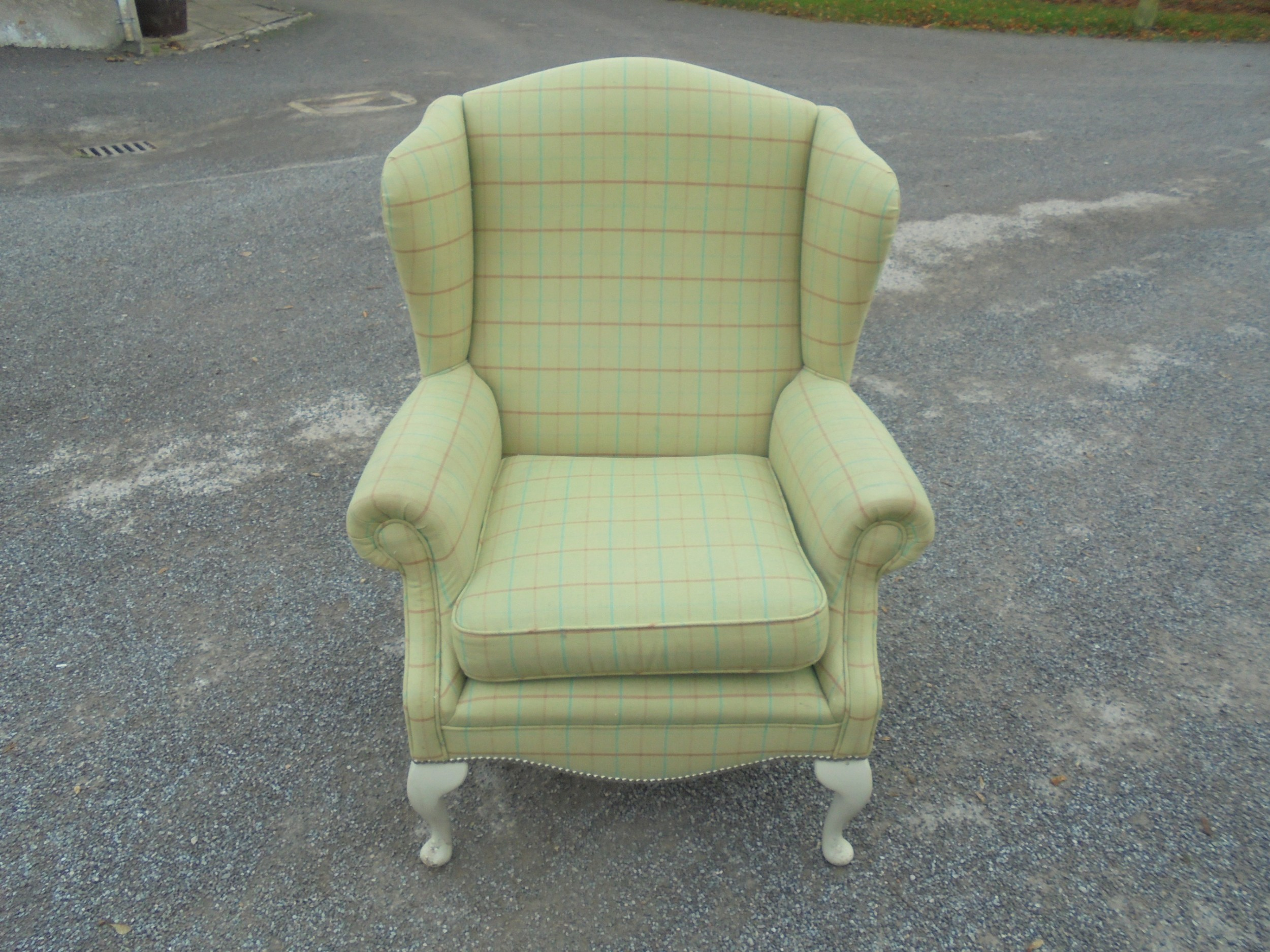 Upholstered Winged Armchair | 585353 | Sellingantiques.co.uk