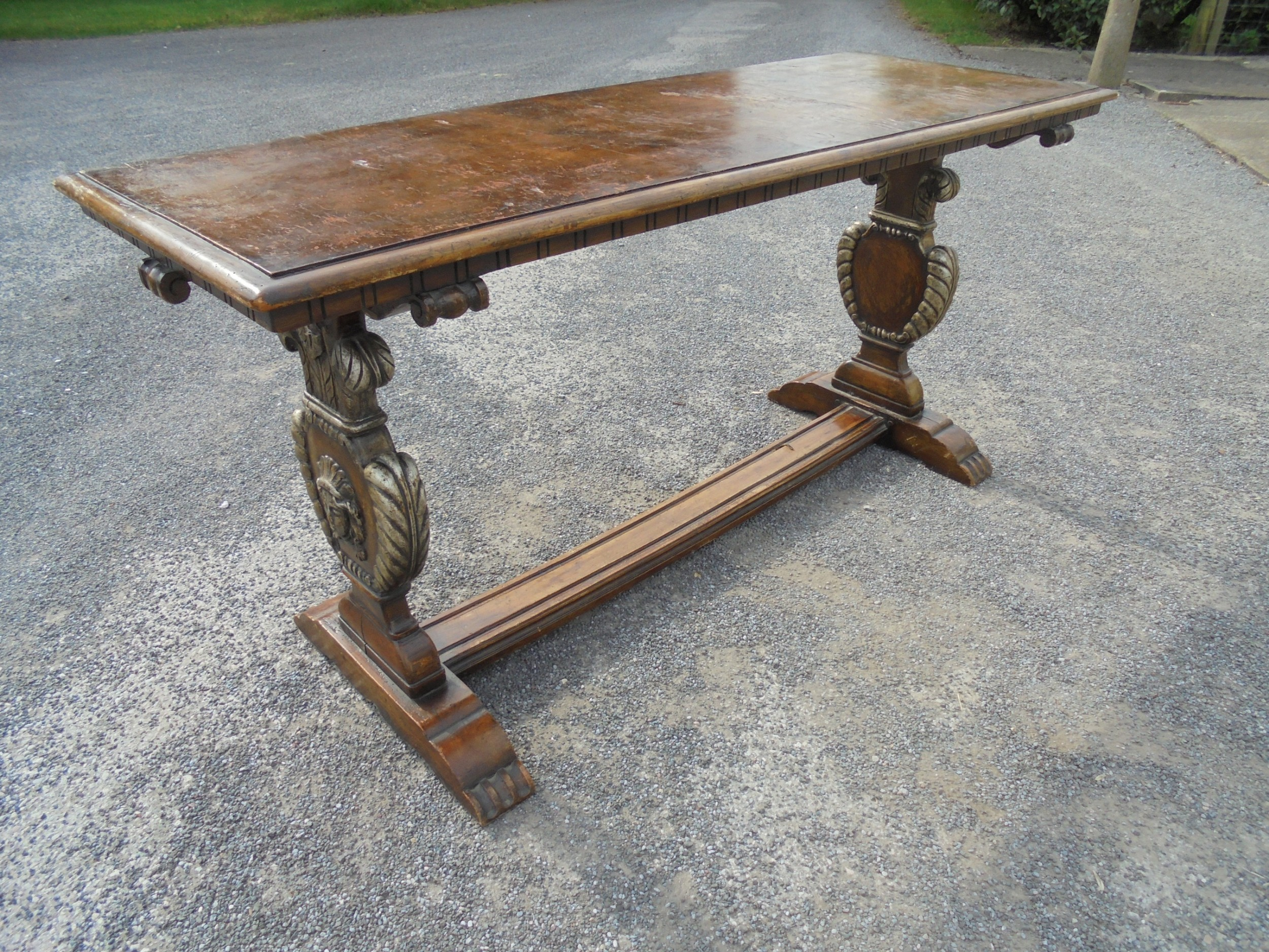 victorian burr oak top small refectory kitchen table