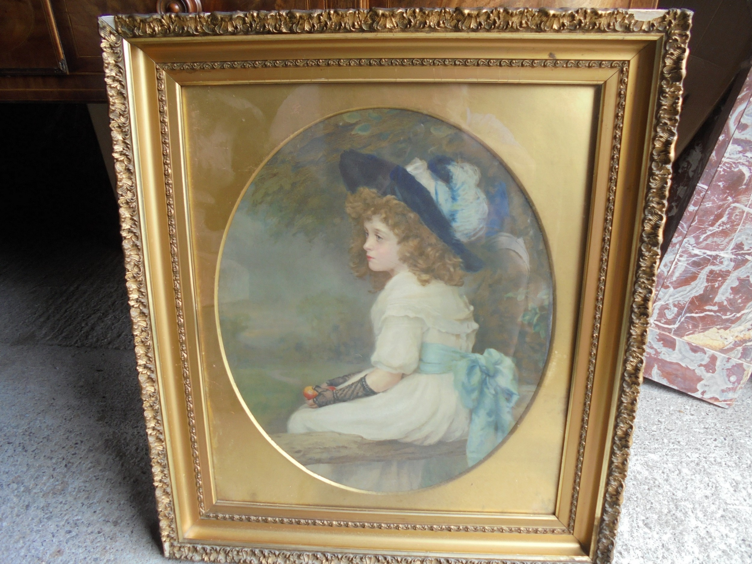 19th century pastel portrait gilded frame