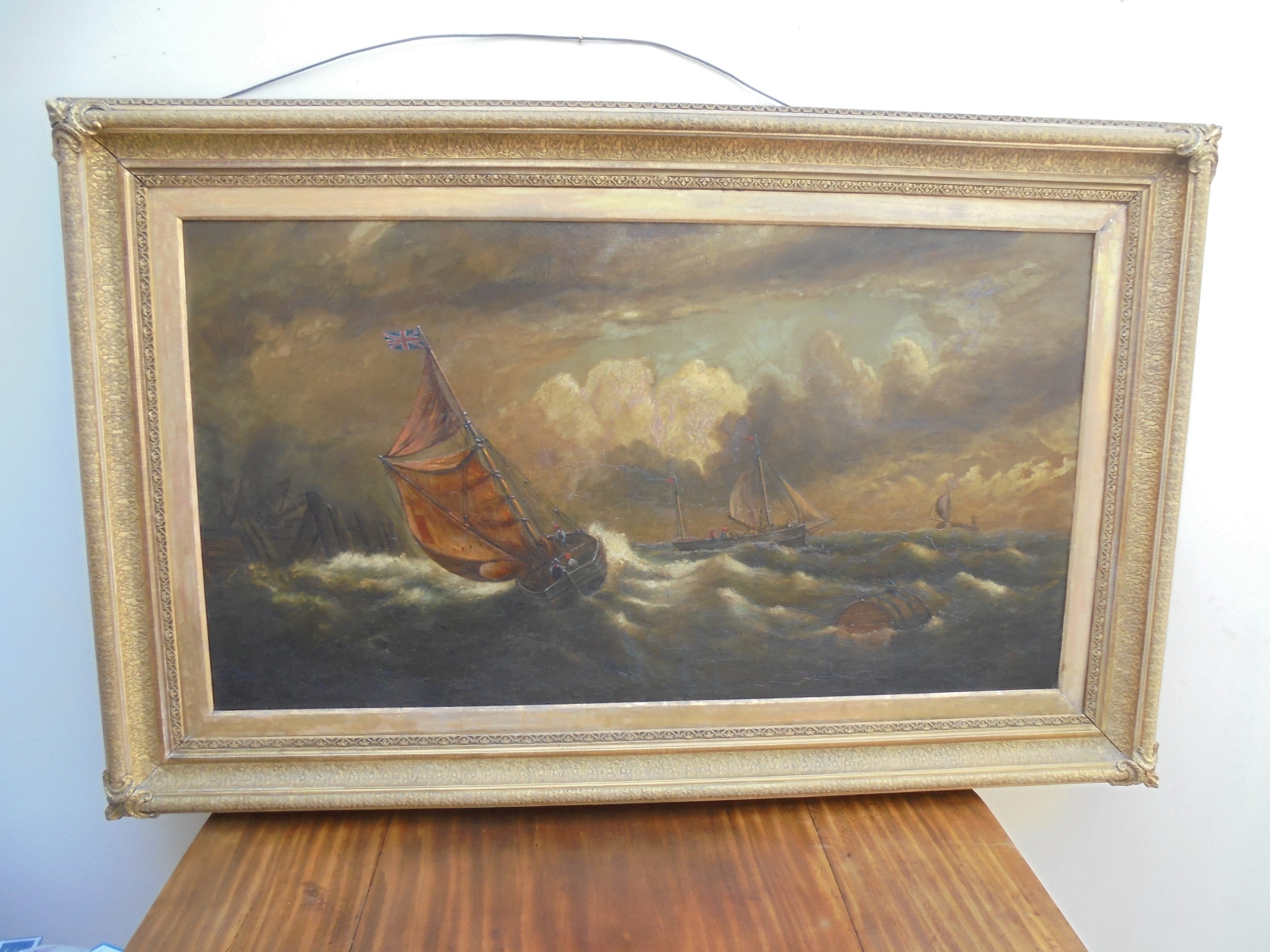 signed 19th century oil on canvas marine painting
