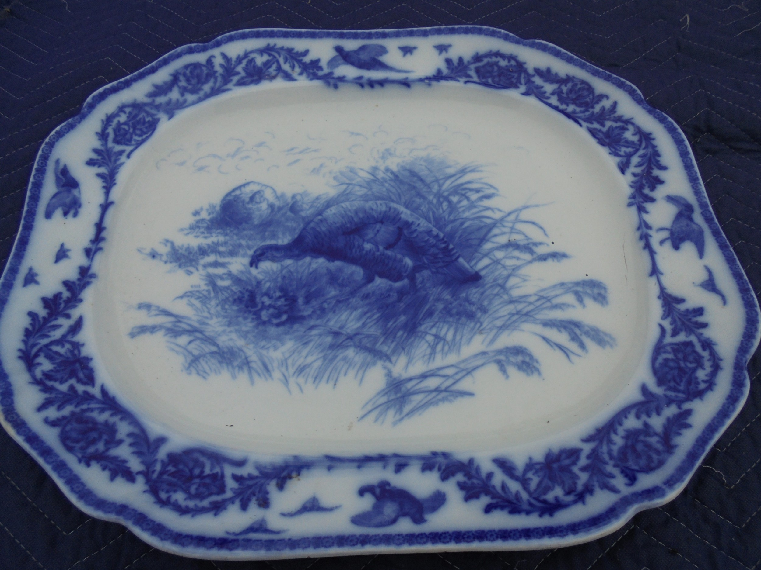 19th century turkeygame platter blue and white