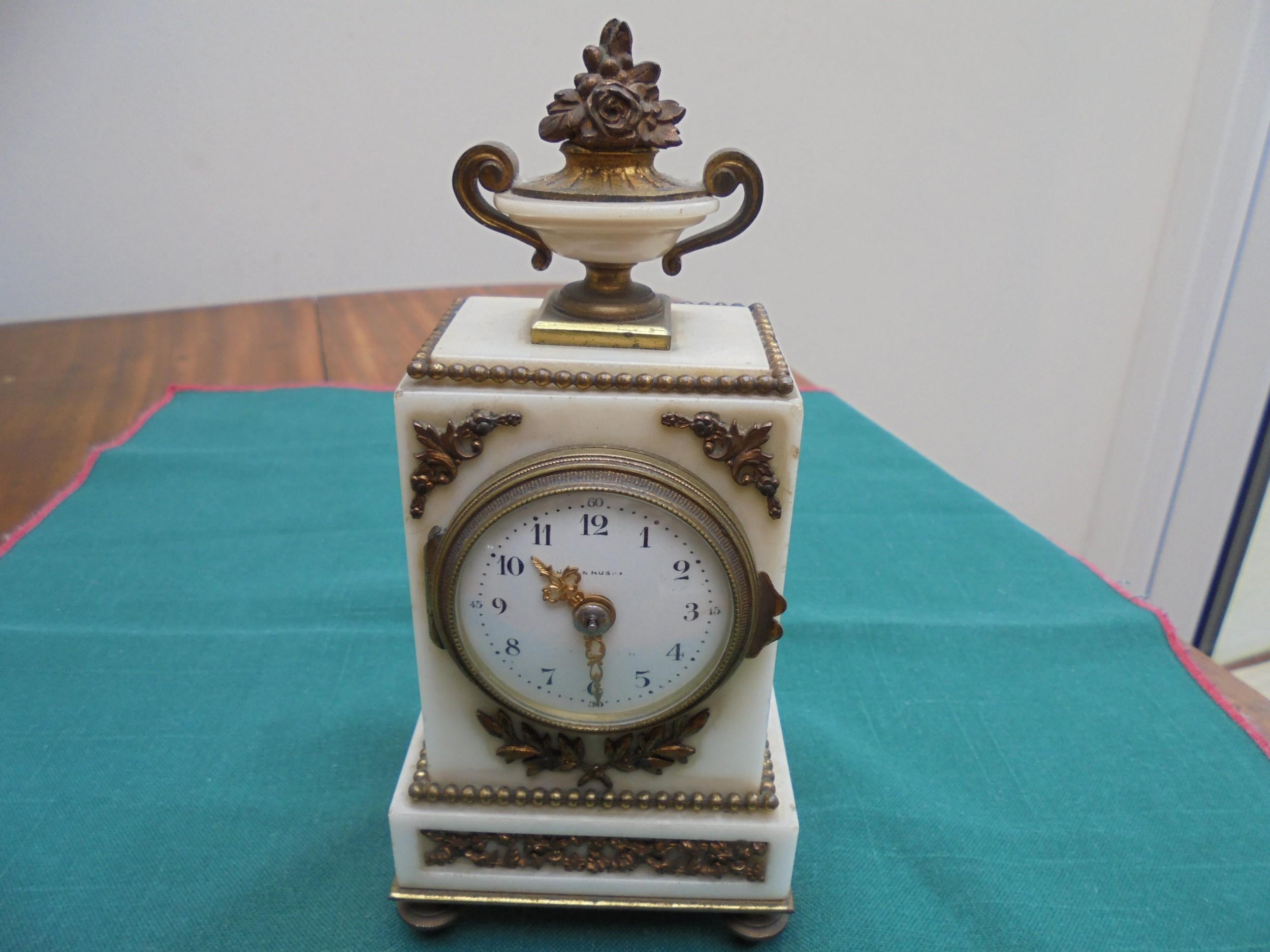 19th century miniature marble and ormolu mantle clock