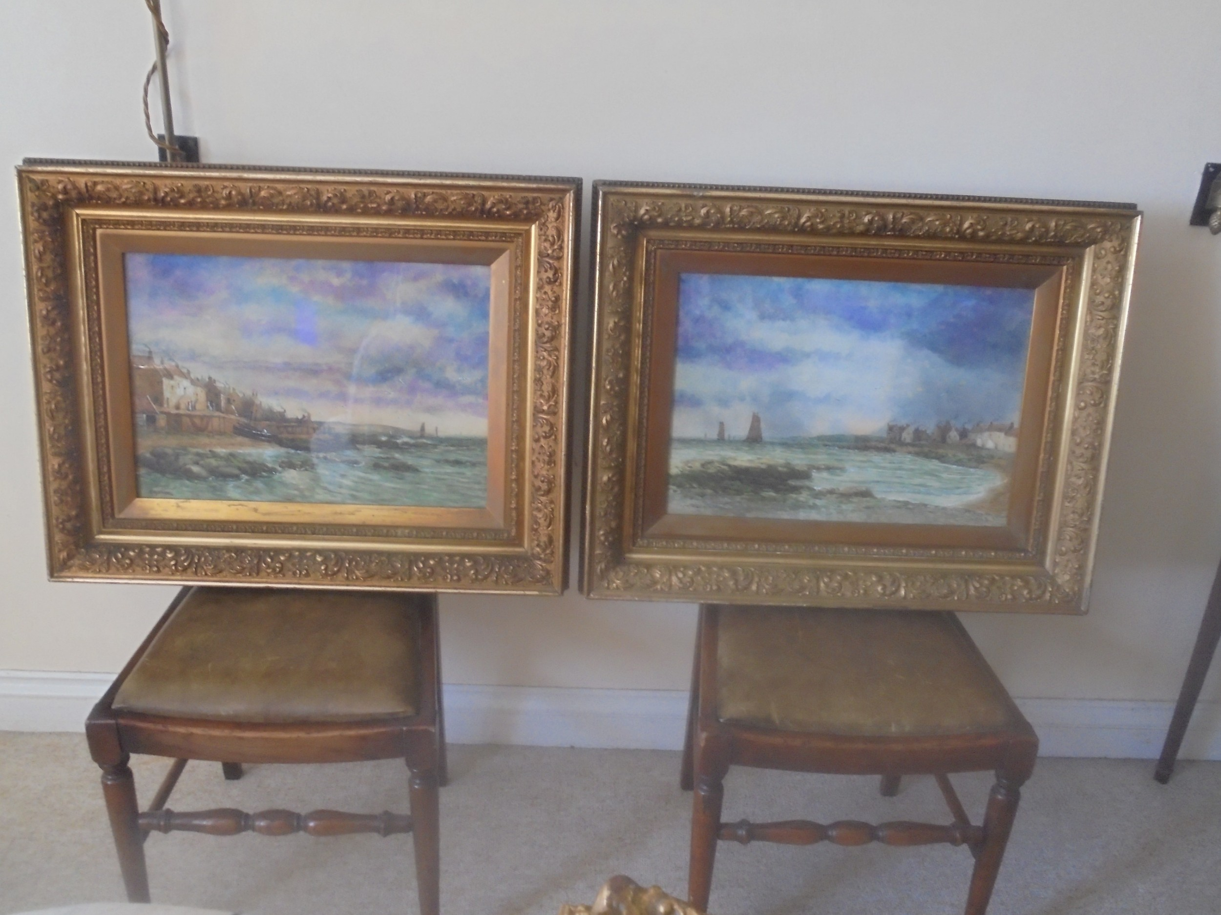 large pair 19th century framed water colours of buckhaven scotland