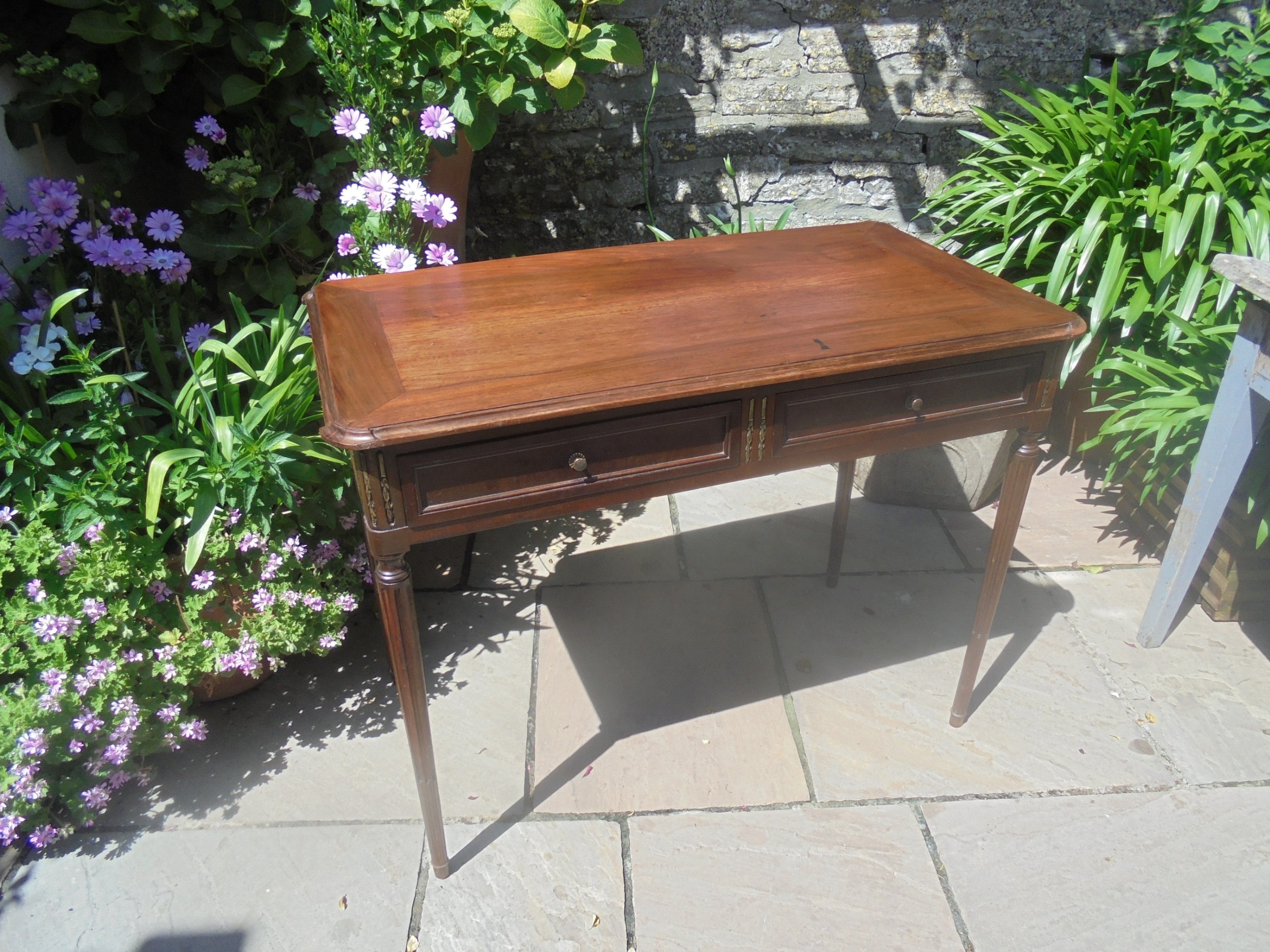two drawer writing desk with ormolu mounts