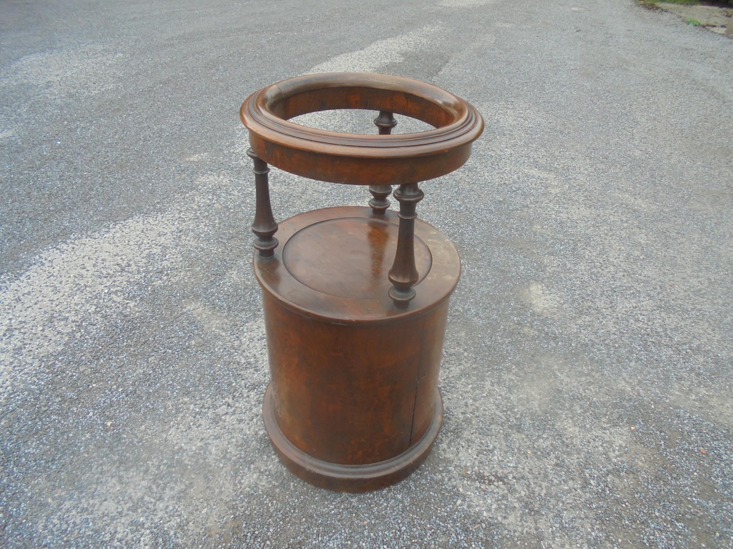 early victorian burr walnut circular pot cupboard