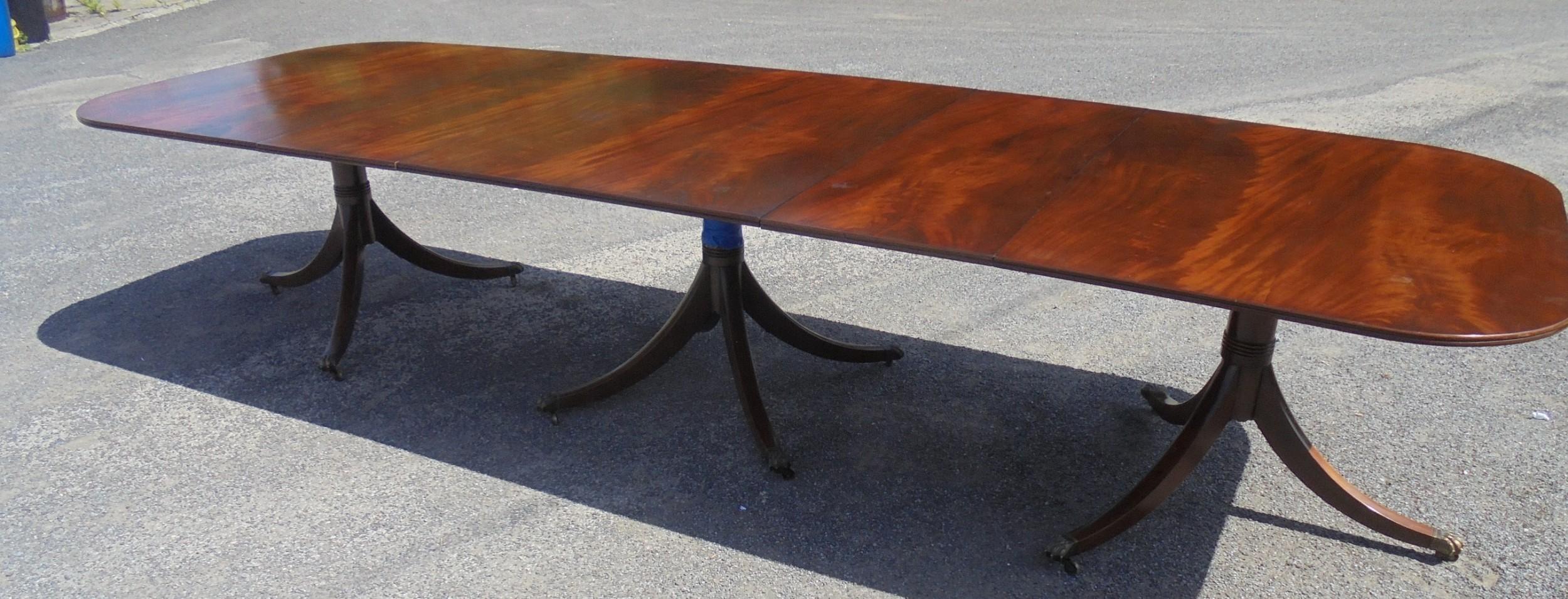 three pillar mahogany dining table seats fourteen plus