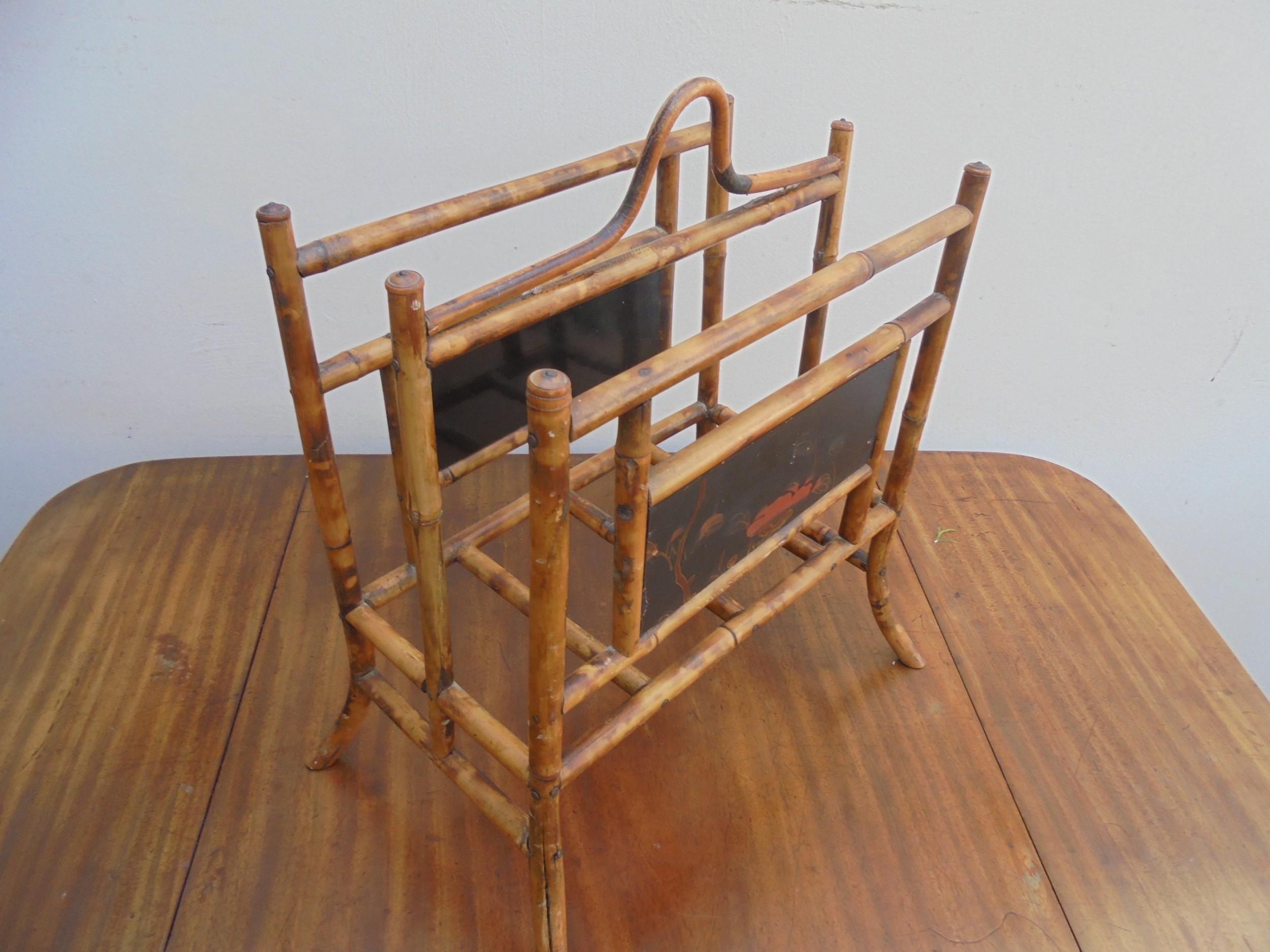 small victorian bamboo canterbury magazine rack
