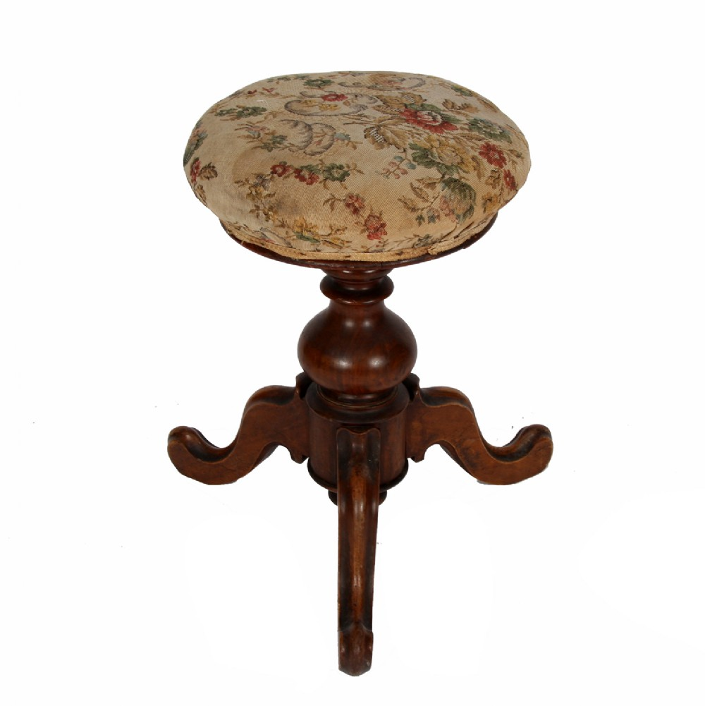 walnut stool with upholstered seat