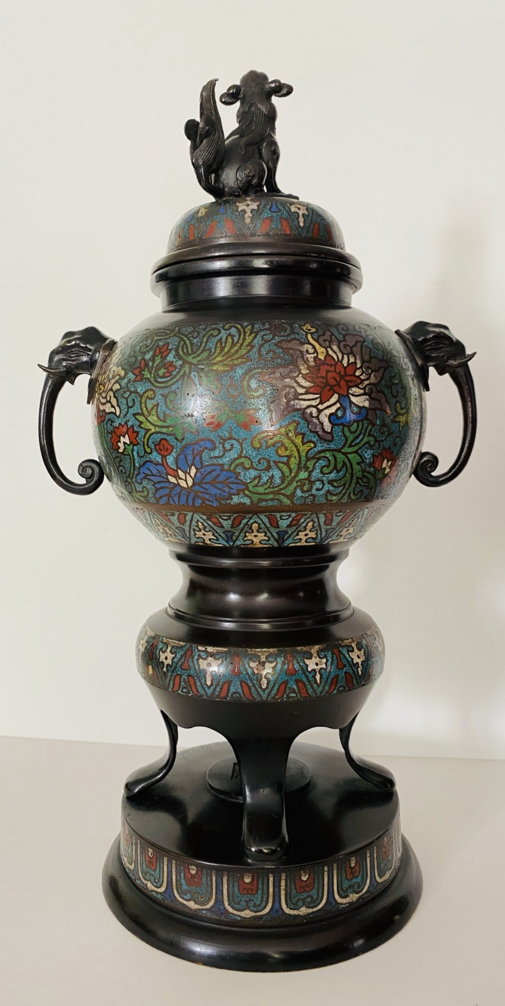 chinese bronze and cloisonn 19th century koro and cover