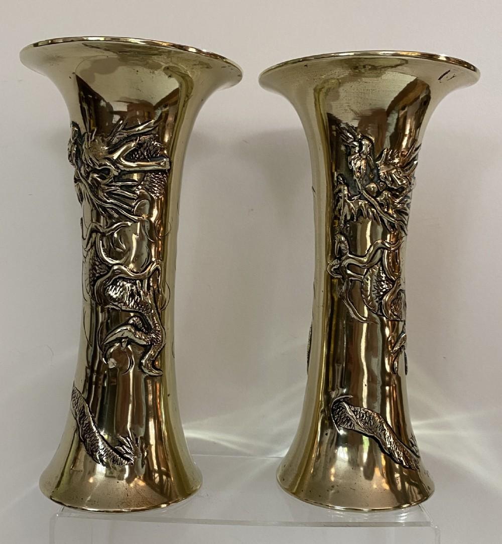 pair of chinese brass vases circa 1900
