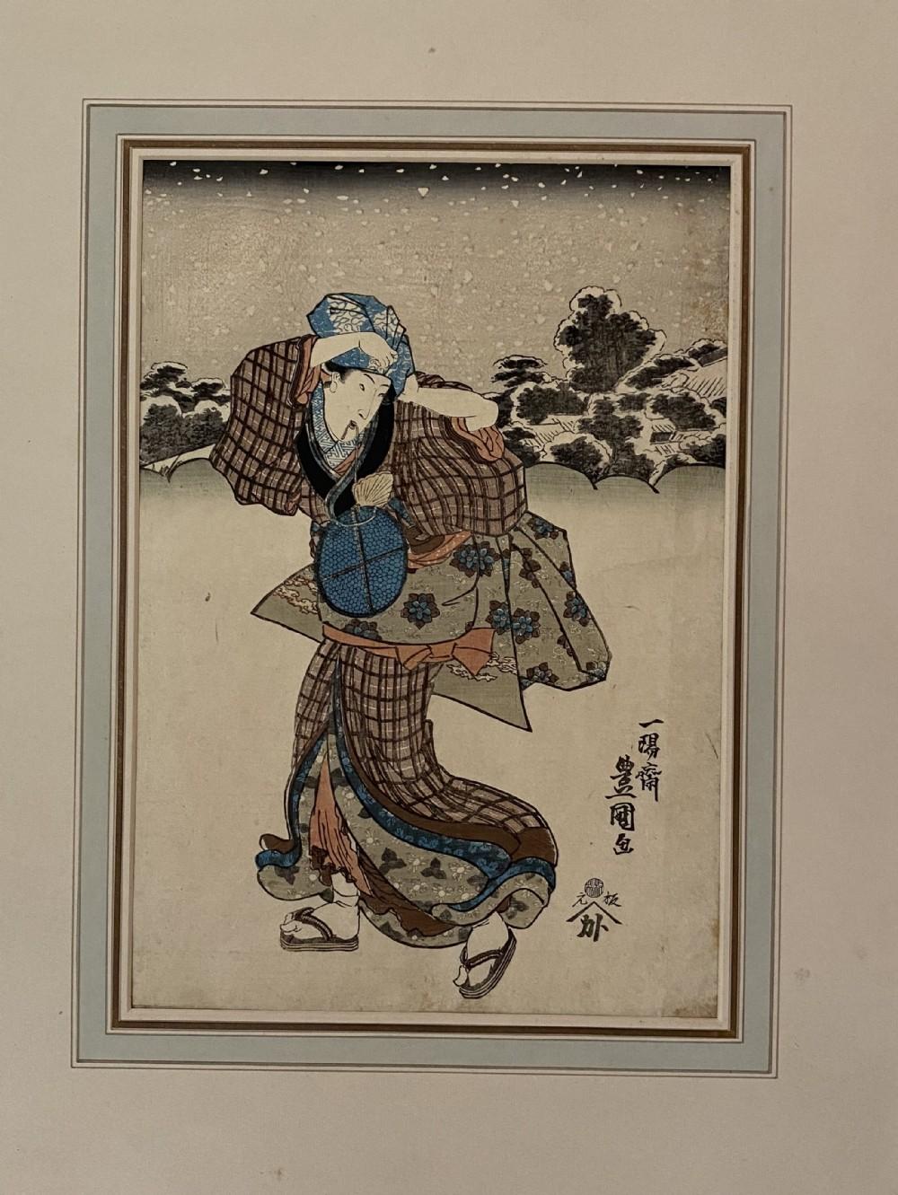 three woodcuts by utagawa toyokuni 17691825 19th century