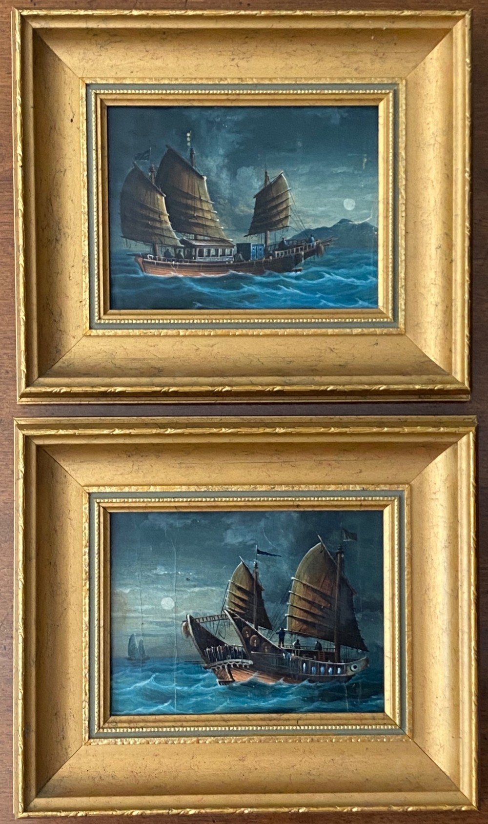 pair of chinese 19th century paintings of junks in the moonlight
