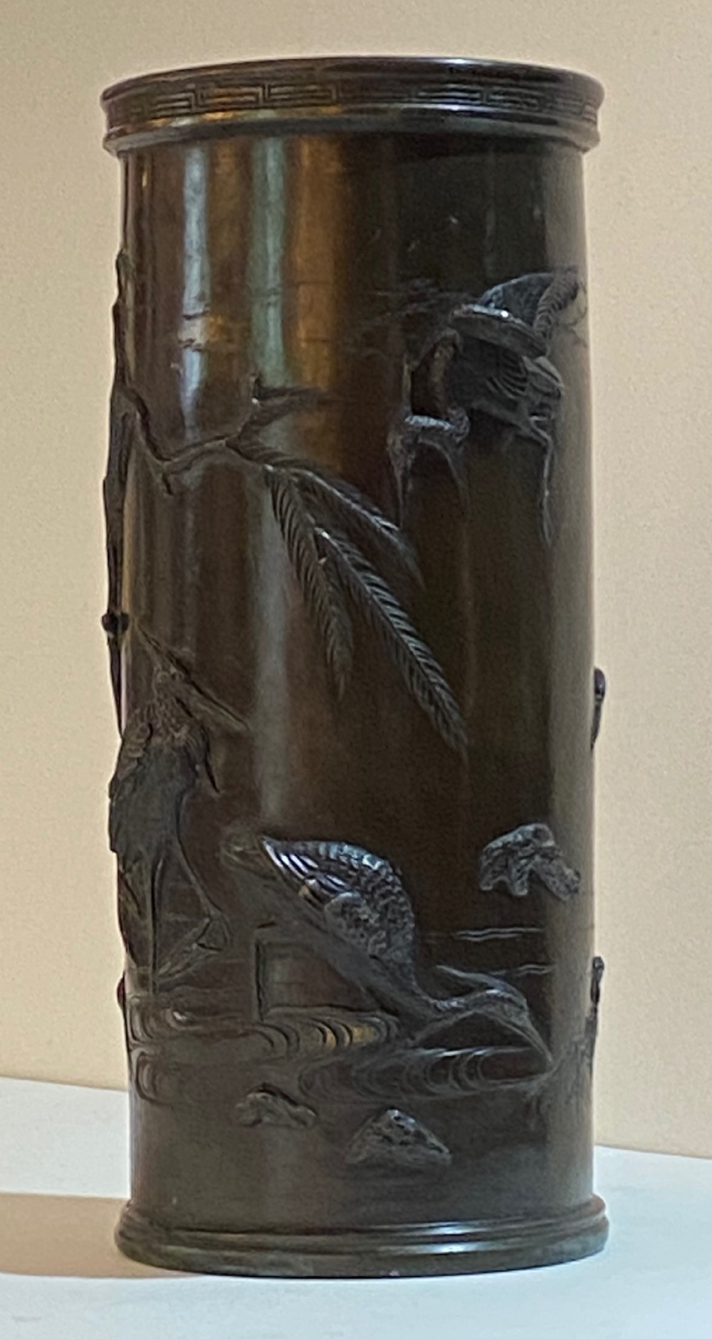 antique japanese bronze sleeve vase