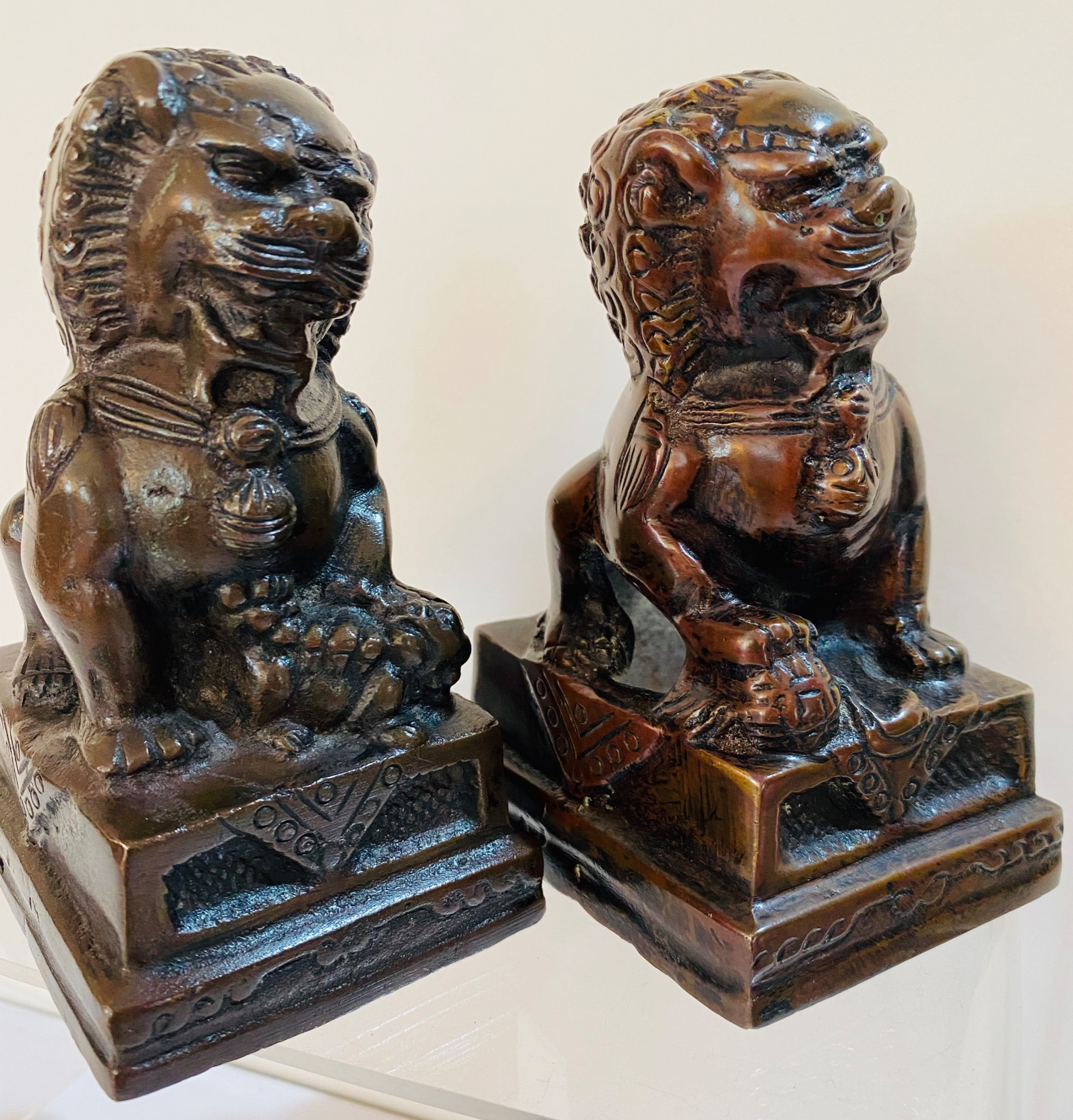 pair of chinese bronze dogs of foo 19th century