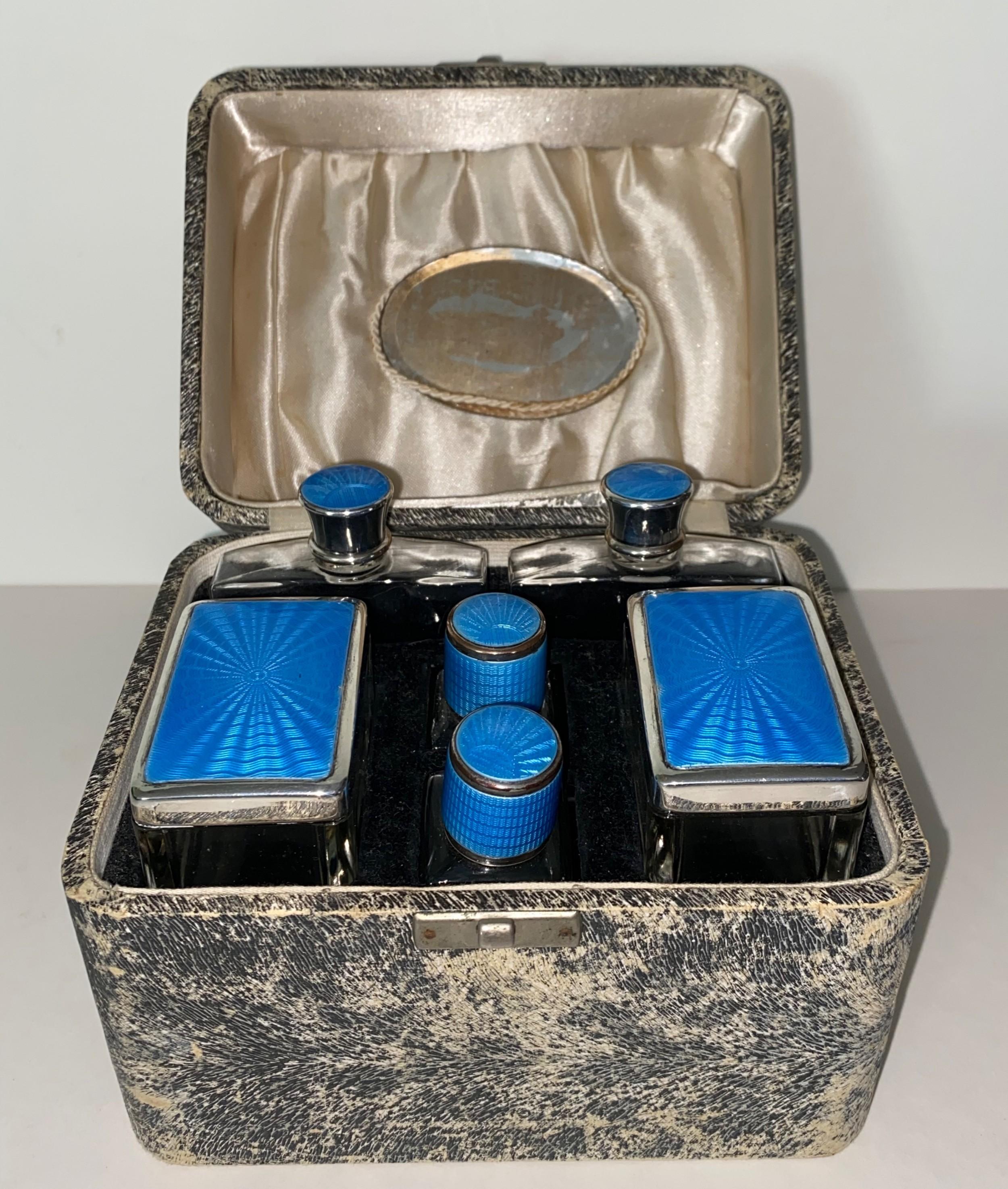 art deco vanity set with guilloche enamel lids