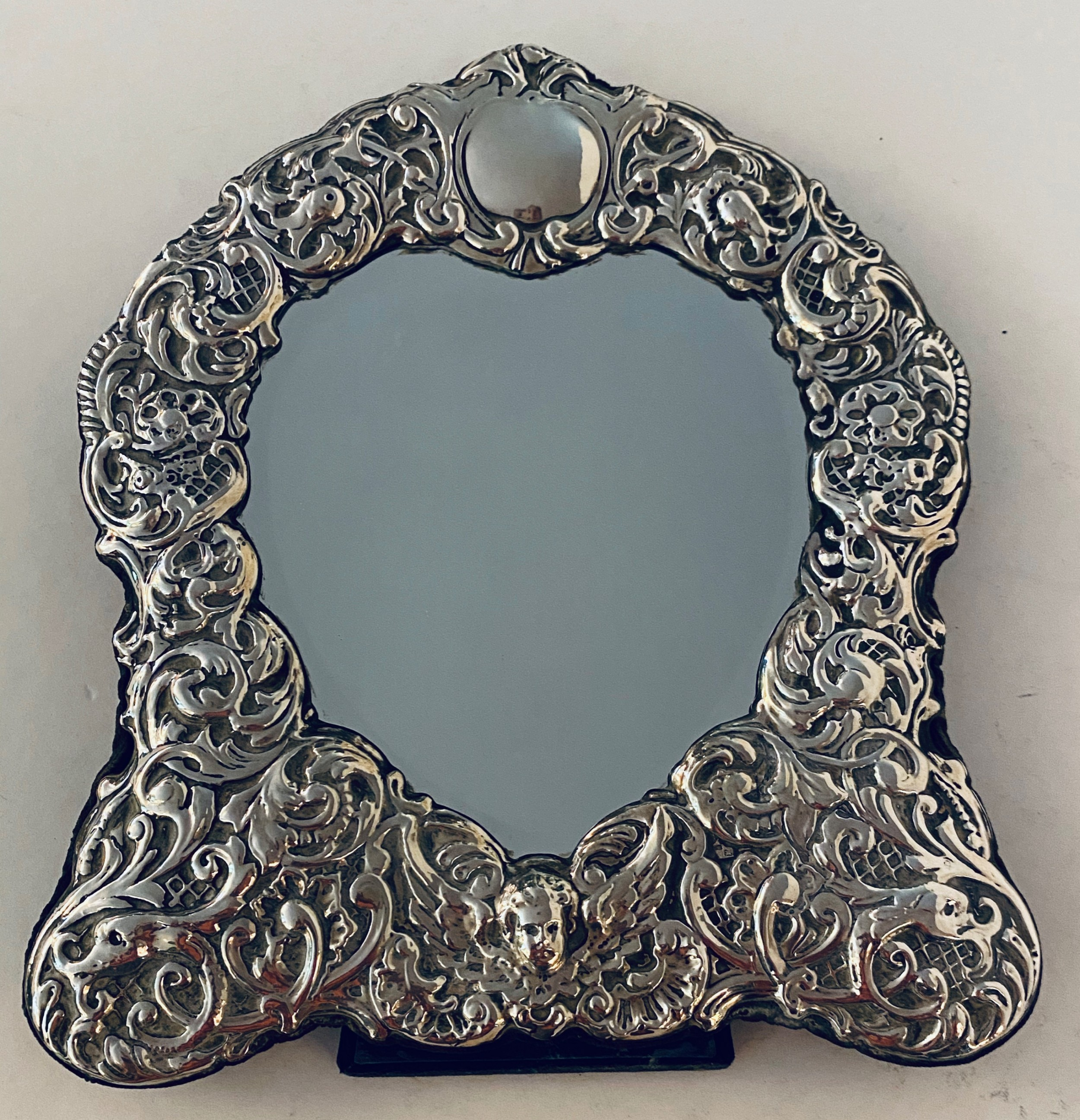 sterling silver framed easel mirror 19th century