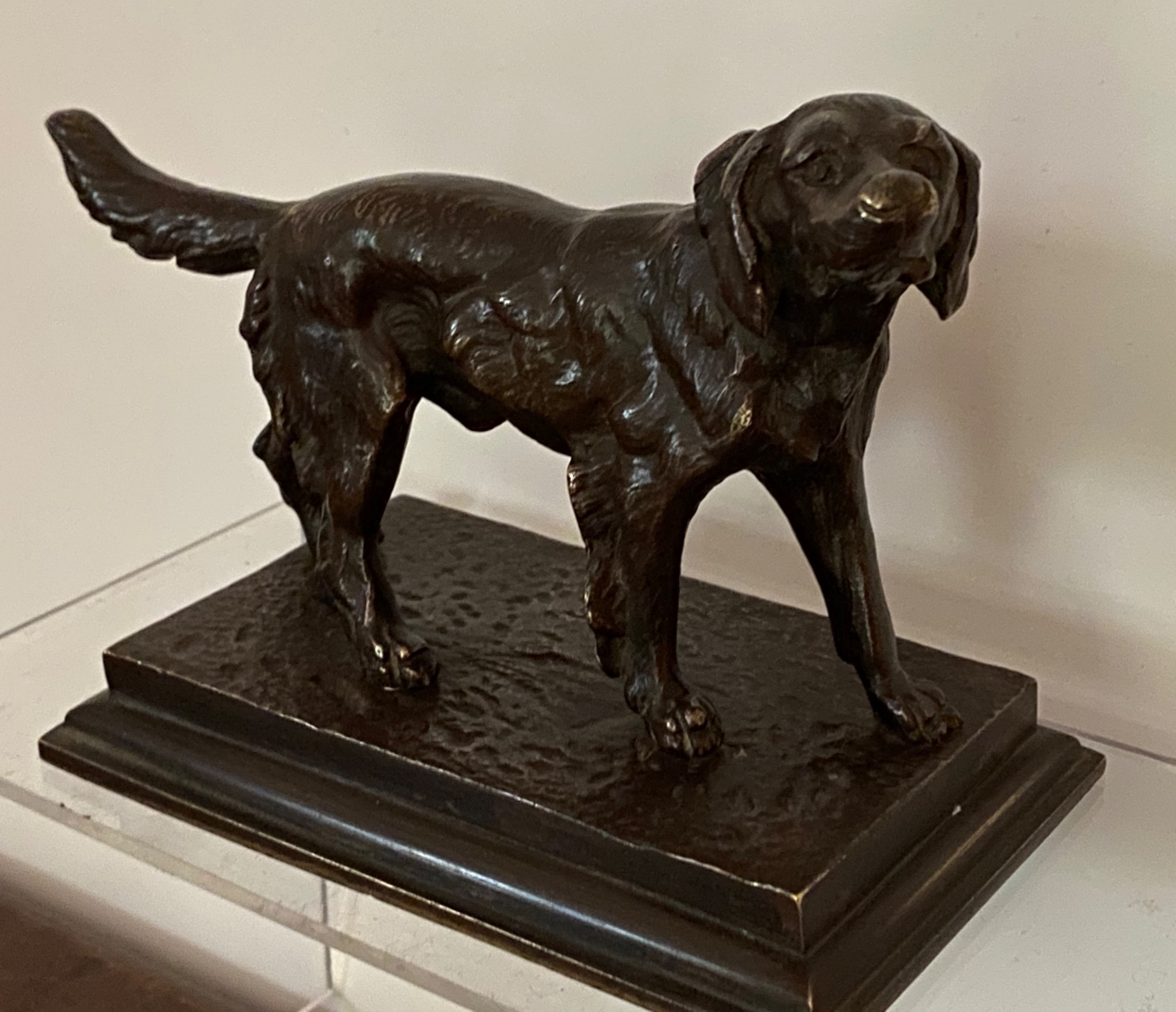 bronze figure of a hunting dog 19th century