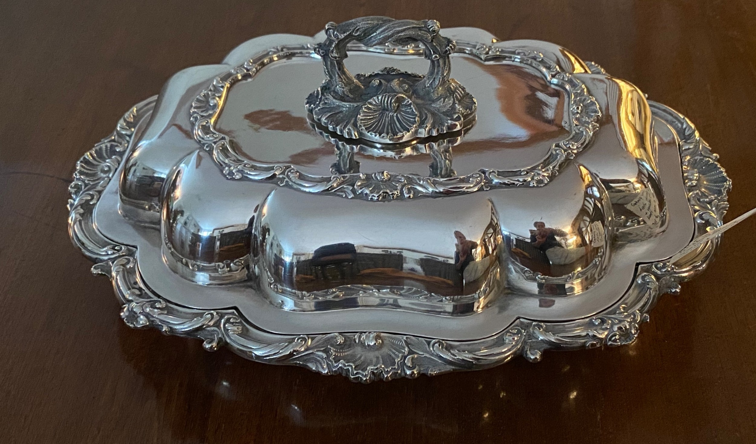 silver plated vegetable dish and cover