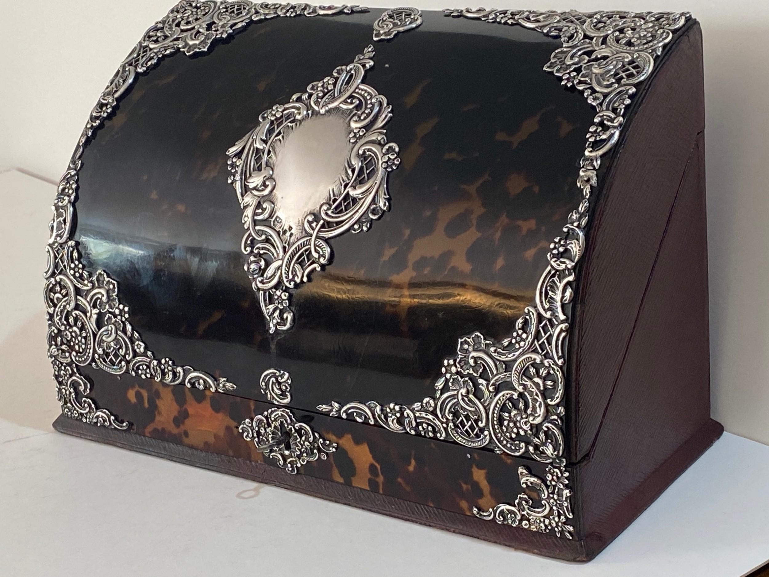 tortoiseshell and silver mounted stationery box