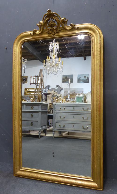 gilt crested louis philippe antique french mirror