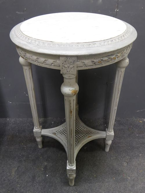 Worn Grey Painted Antique French Side Table With Original Marble Top